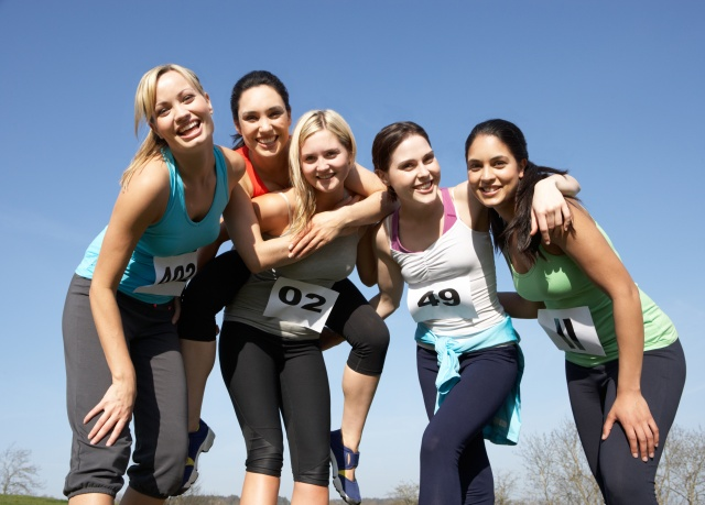 Five Female Runners Training For Race